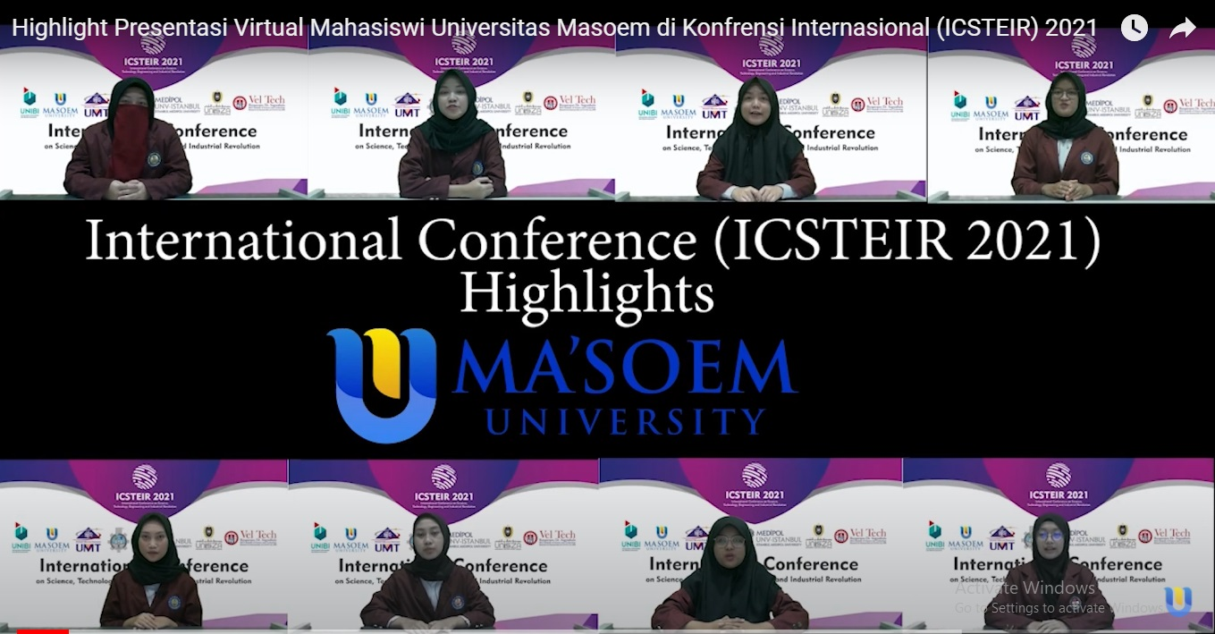 Highlight Presentasi Virtual Mahasiswi Universitas Masoem di Konfrensi Internasional (ICSTEIR) 2021